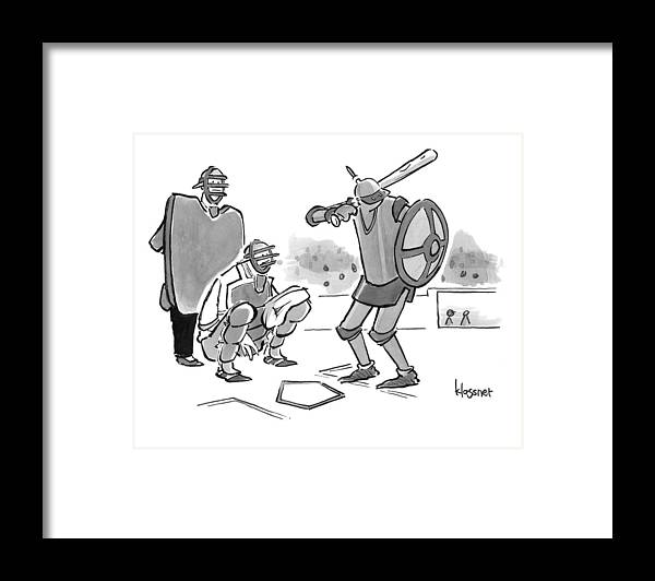Baseball Framed Print featuring the drawing A Baseball Player Dressed Like A Knight Holds by John Klossner