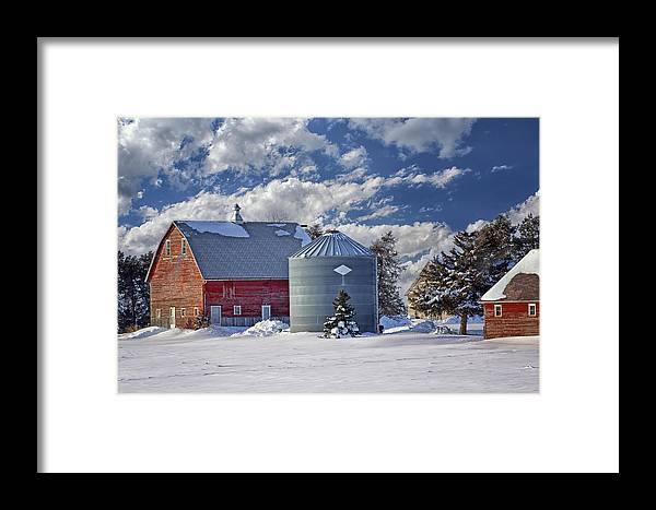 Red Barns Framed Print featuring the photograph A Beautiful Winter Day by Nikolyn McDonald