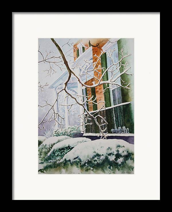 Snow Scene Landscape Framed Print featuring the painting A Blanket Of Snow by Patsy Sharpe