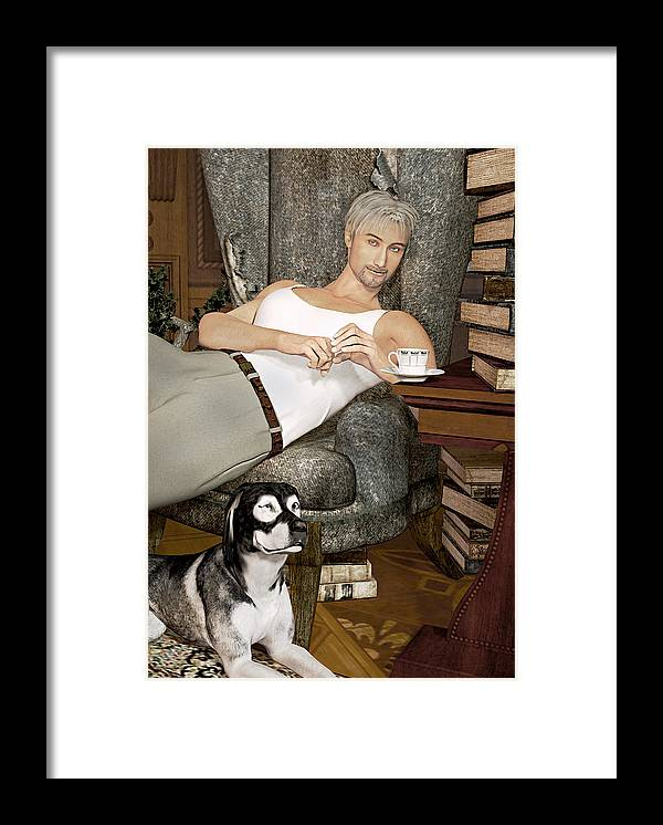 Boy Framed Print featuring the painting A Boy And His Dog by Peter J Sucy