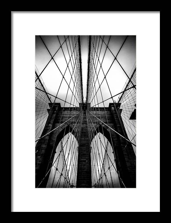 Brooklyn Bridge Arches Framed Print featuring the photograph A Brooklyn Perspective by Az Jackson