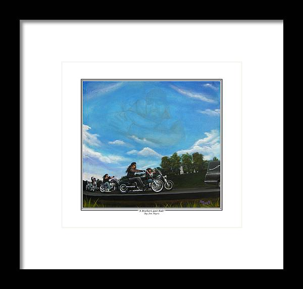 Motorcycle Framed Print featuring the painting A Brother's Last Ride by Jim Myers