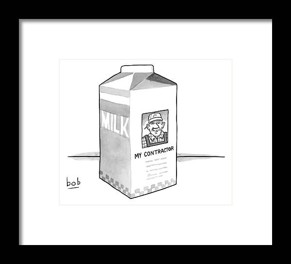 A Carton Of Milk Sits On A Table With A Photo Framed Print by Bob ...