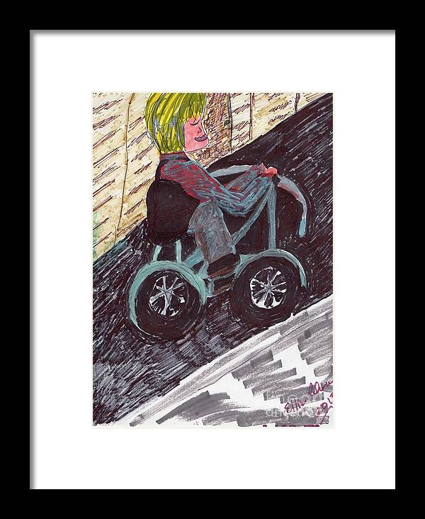 Lady On A Bike Framed Print featuring the mixed media A Casual Ride by Elinor Helen Rakowski