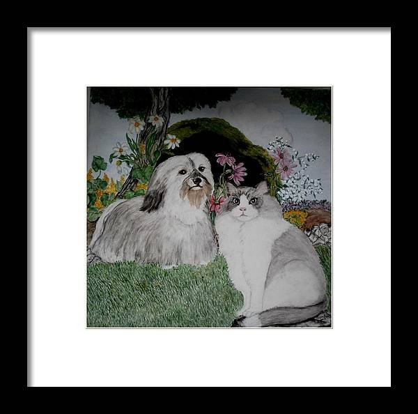 Cat Framed Print featuring the painting A Cat And A Dog by Sandra Maddox