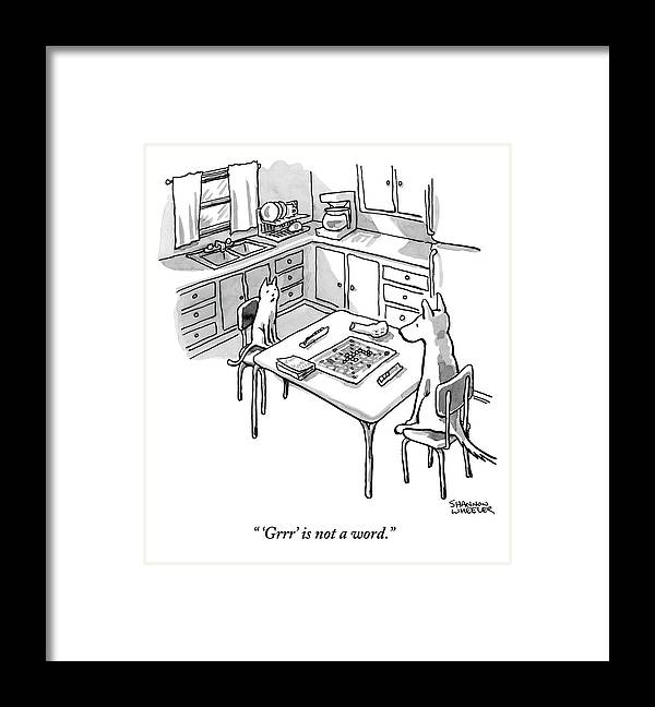 'grrr' Is Not A Word. Framed Print featuring the drawing A Cat And Dog Play Scrabble In A Kitchen. 'grrr' by Shannon Wheeler