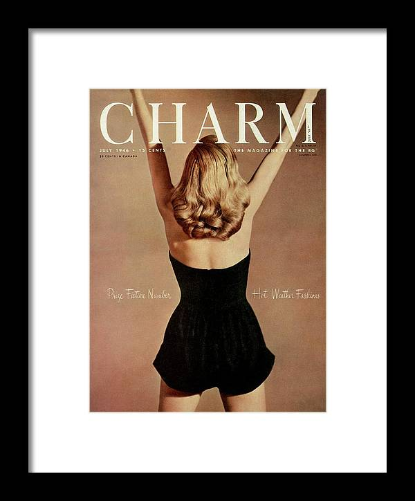 Fashion Framed Print featuring the photograph A Charm Cover Of A Model Wearing A Romper by Jon Abbot