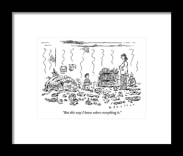 Child-rearing Framed Print featuring the drawing A Child And Mother Discussing A Very Messy Room by Barbara Smaller