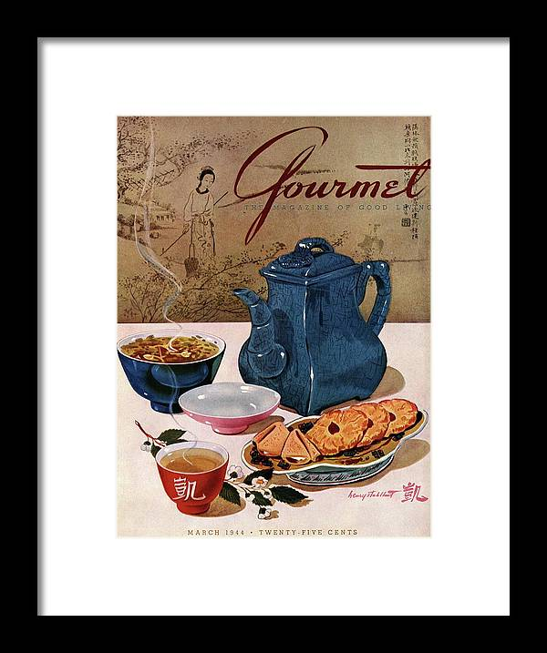 Food Framed Print featuring the photograph A Chinese Tea Pot With Tea And Cookies by Henry Stahlhut