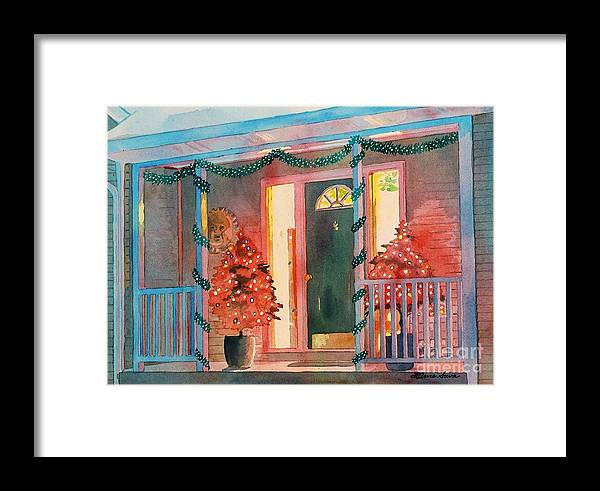 Christmas Framed Print featuring the painting A Christmas At Home, House Prints, Porch Prints, House Paintings, House Prints, Christmas Paintings, by LeAnne Sowa