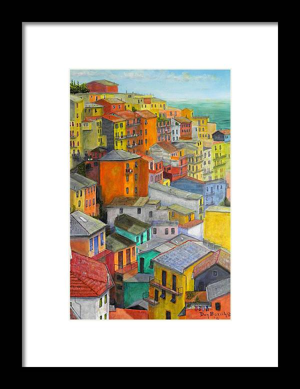 Seaside Framed Print featuring the painting A Cinque Terre Village by Dan Bozich