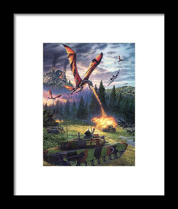 Dragon Framed Print featuring the painting A Clash Of Worlds by Stu Shepherd