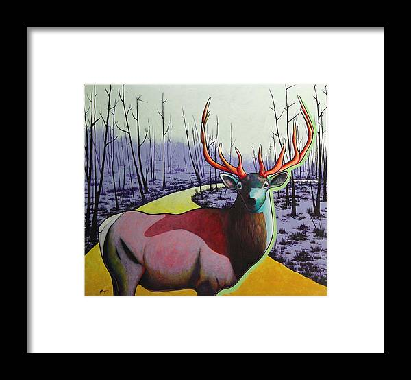Wildlife In Yellowstone Park Framed Print featuring the painting A Close Encounter in Yellowstone by Joe Triano