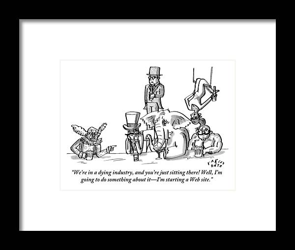 Clowns Framed Print featuring the drawing A Clown Gives Advice To A Disheartened Group by Farley Katz