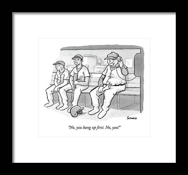 Baseball Framed Print featuring the drawing A Coach In A Baseball Dugout Speaks On The Phone by Benjamin Schwartz