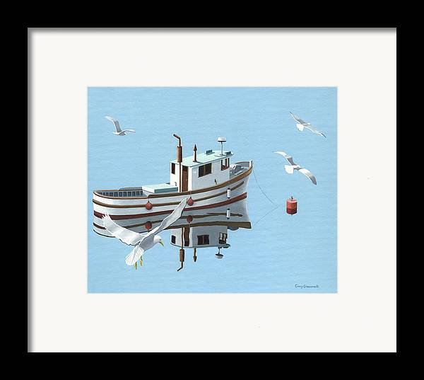 Boat Framed Print featuring the painting A Contemplation Of Seagulls by Gary Giacomelli