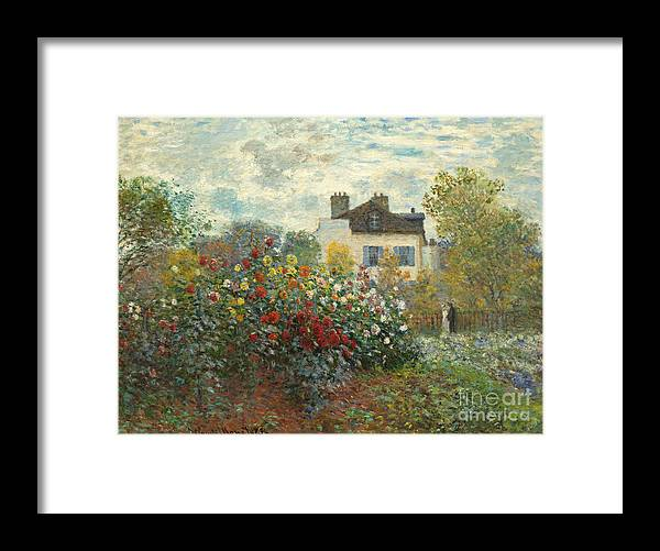 French Framed Print featuring the painting A Corner of the Garden with Dahlias by Claude Monet
