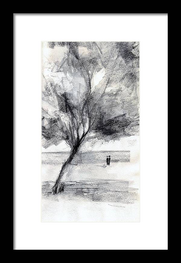 Seaview Framed Print featuring the drawing A Couple by Karina Plachetka