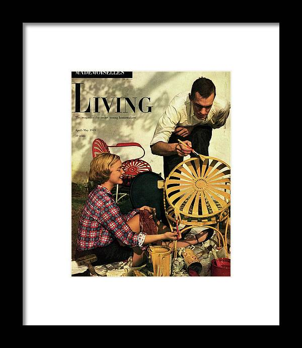 Crafts Framed Print featuring the digital art A Couple Painting A Chair by Herman Landshoff