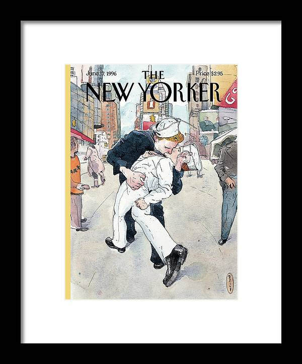 Don't Ask Gay Gays Sexuality Sex Times Square Sailor Sailors Navy Naval Kissing Kiss Military Politics Tell Wwii Homosexual Homosexuality New York City Barry Blitt Barry Blitt Bbl Bodinsuttles Artkey 50860 Nycovertour Framed Print featuring the painting A Couple Reenacts A Famous World War II Kiss by Barry Blitt