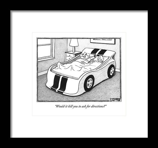 A Couple Sleeping In A Kids Car Bed Framed Print by Matthew Diffee