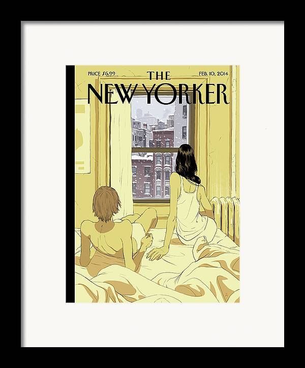 Seasons Framed Print featuring the painting A Couple Stays In Bed While It Snows In The City by Tomer Hanuka