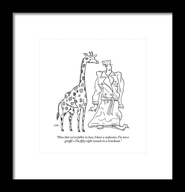 Now That We've Fallen In Love Framed Print featuring the drawing I have a confession by Jason Adam Katzenstein