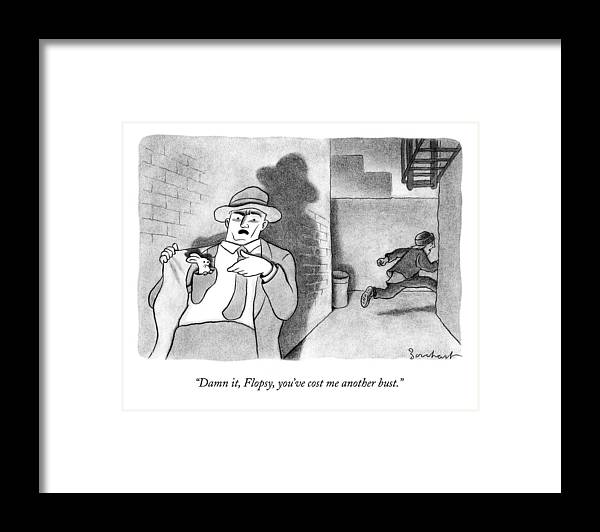 Detective Framed Print featuring the drawing A Detective Opens His Jacket Pocket To Find by David Borchart