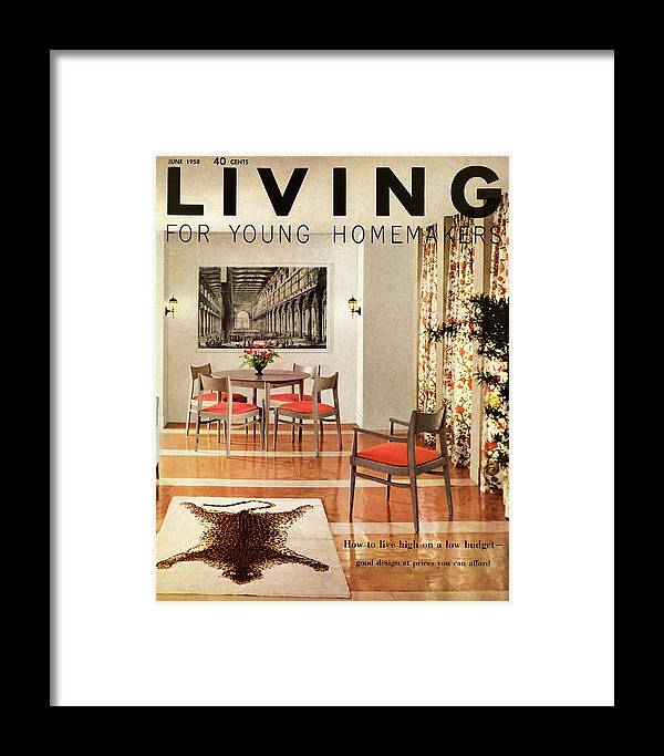 Dining Room Framed Print featuring the digital art A Dining Room With A Silver Table And Chairs by Ernest Silva