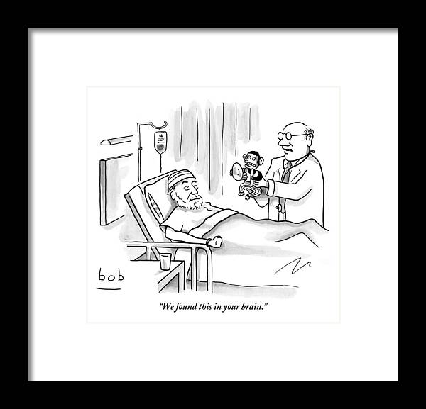 Doctor And Patient Framed Print featuring the drawing A Doctor Shows A Tambourine Monkey Toy by Bob Eckstein