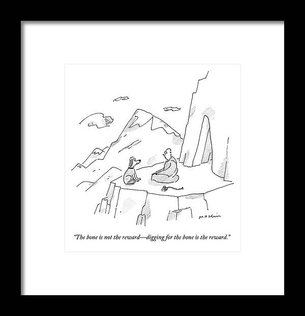 Dogs Framed Print featuring the drawing A Dog Speaks To A Guru On Top Of A Mountain by Michael Maslin