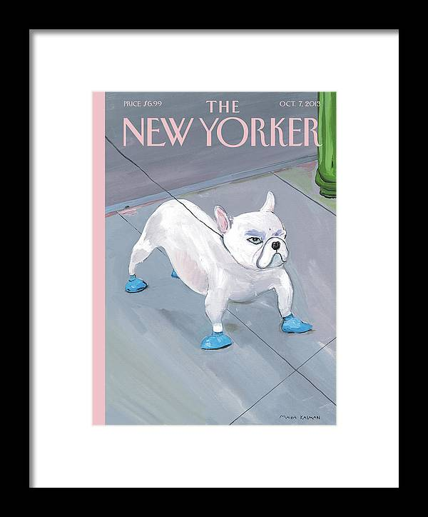Dog Framed Print featuring the painting A Dog Wears Shoes On The City Sidewalk by Maira Kalman
