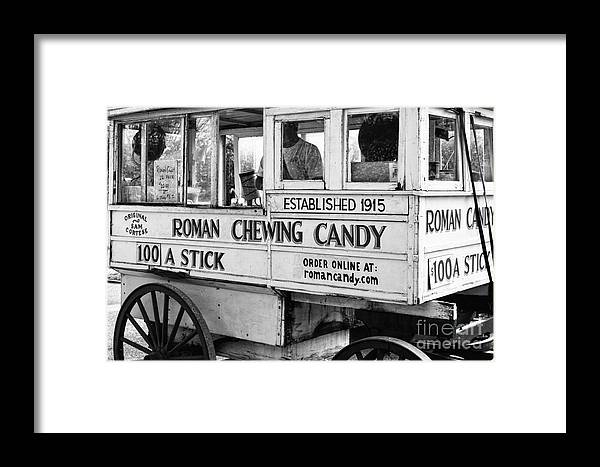 Kathleen K Parker Fine Art Framed Print featuring the photograph A Dollar A Stick Roman Chewing Candy In Bw by Kathleen K Parker