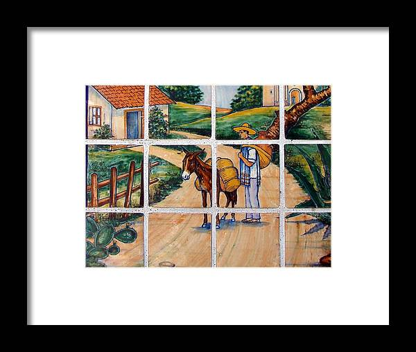 Kansas City Framed Print featuring the photograph A Farm Scene On Plaza Tiles by Cassie Peters