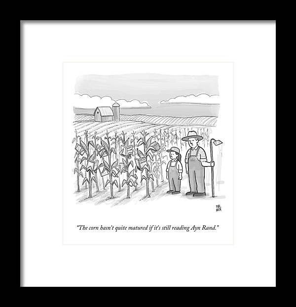 Corn Stalks Framed Print featuring the drawing A Farmer And His Daughter Look At Cornstalks Who by Paul Noth