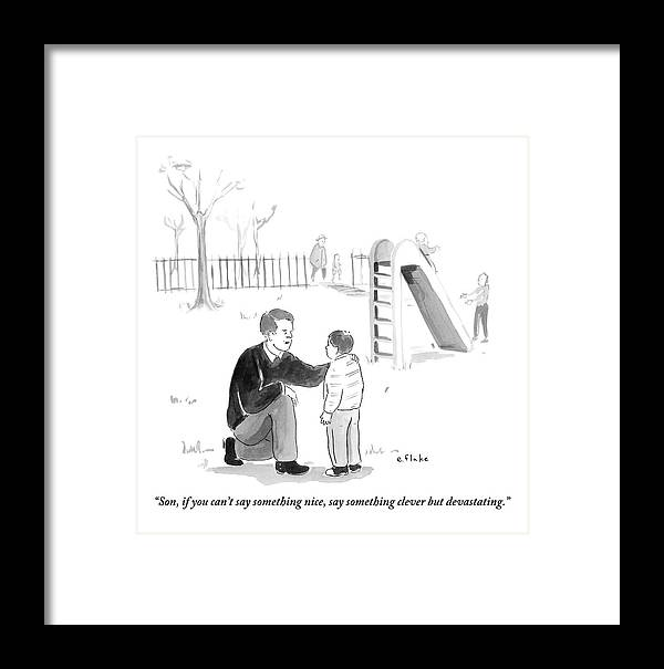 Advice Framed Print featuring the drawing A Father Encourages His Son At The Playground by Emily Flake