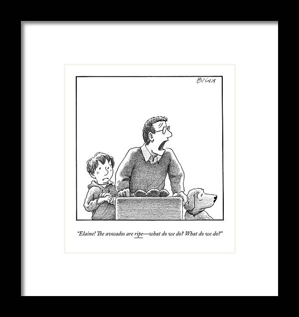 Food Framed Print featuring the drawing A Father, Son, And Dog All Worry At The Sight by Harry Bliss