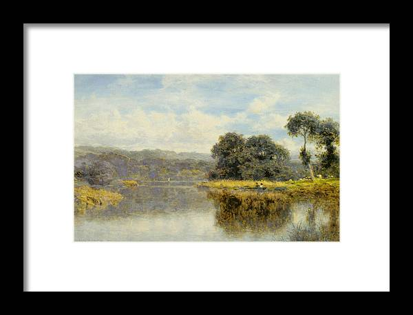 Benjamin Williams Leader Framed Print featuring the digital art A Fine Day On The Thames by Benjamin Williams Leader