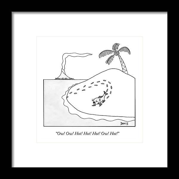 Evolution Framed Print featuring the drawing A Fish First Walking On Land by Matt Stiles Davis