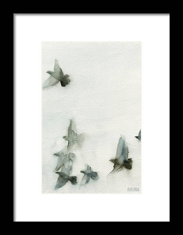 Bird Framed Print featuring the painting A Flock Of Pigeons 1 Watercolor Painting Of Birds by Beverly Brown