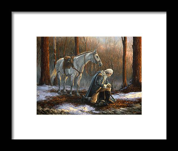 George Framed Print featuring the painting A General Before His King by Tim Davis