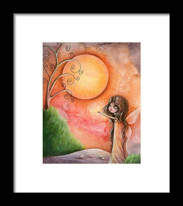 Whimsical Framed Print featuring the drawing A Gift To The Moon by Sour Taffy