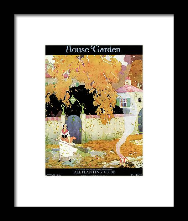 House And Garden Framed Print featuring the photograph A Girl Sweeping Leaves by The Reeses