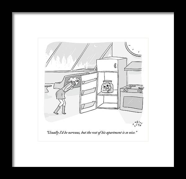 Date Framed Print featuring the drawing A Girl Who Is Talking On The Phone Opens A Fridge by Farley Katz