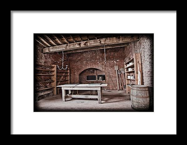 Kitchen Framed Print featuring the pyrography A Glimpse Into Our Past by Shirley Tinkham