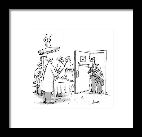 A Golfer Enters An Operating Room Where His Golf Framed Print by Tom ...