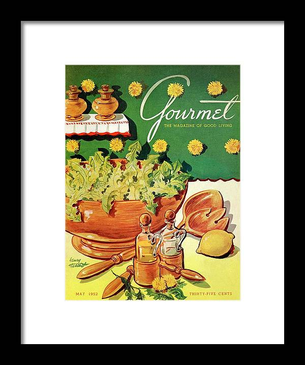 Food Framed Print featuring the photograph A Gourmet Cover Of Dandelion Salad by Henry Stahlhut