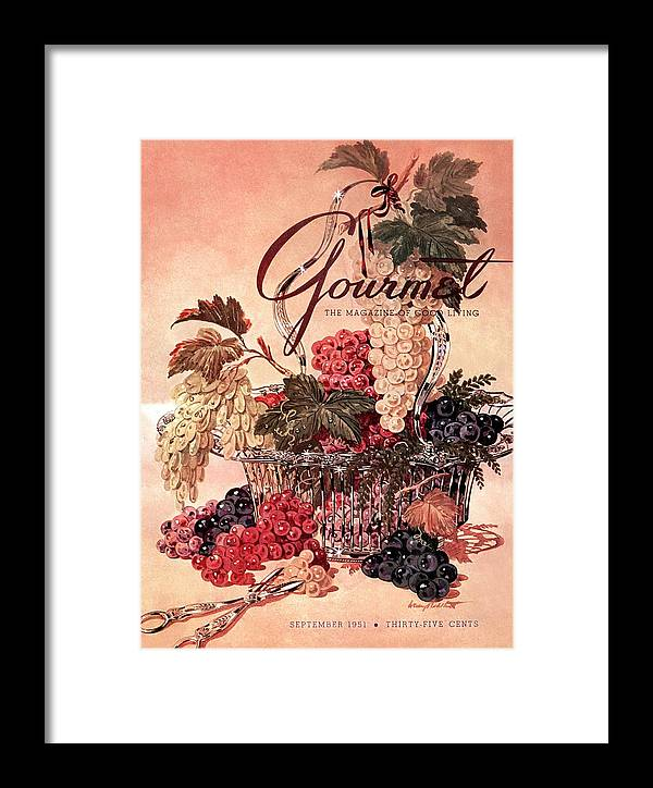 Illustration Framed Print featuring the photograph A Gourmet Cover Of Grapes by Henry Stahlhut
