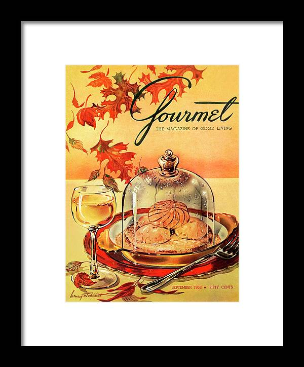 Illustration Framed Print featuring the photograph A Gourmet Cover Of Mushrooms On Toast by Henry Stahlhut