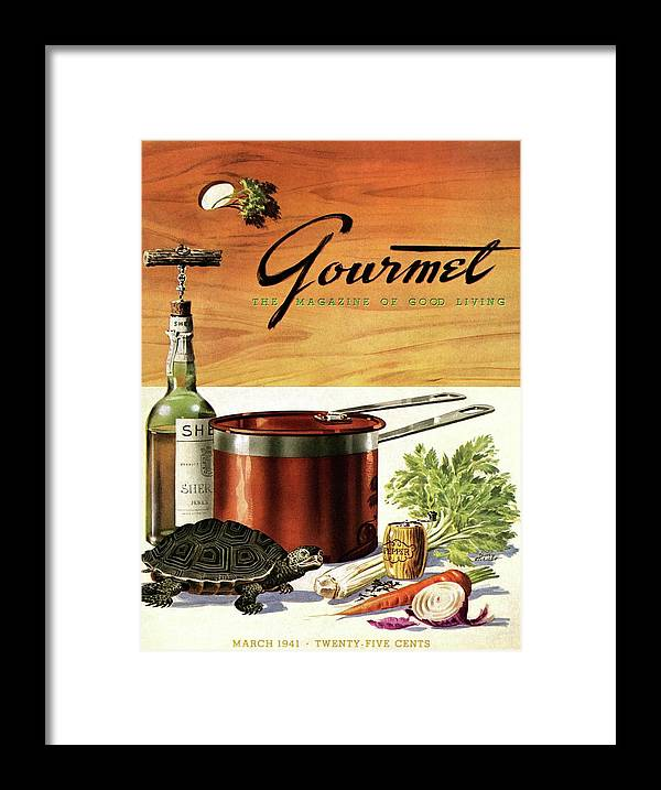 Illustration Framed Print featuring the photograph A Gourmet Cover Of Turtle Soup Ingredients by Henry Stahlhut